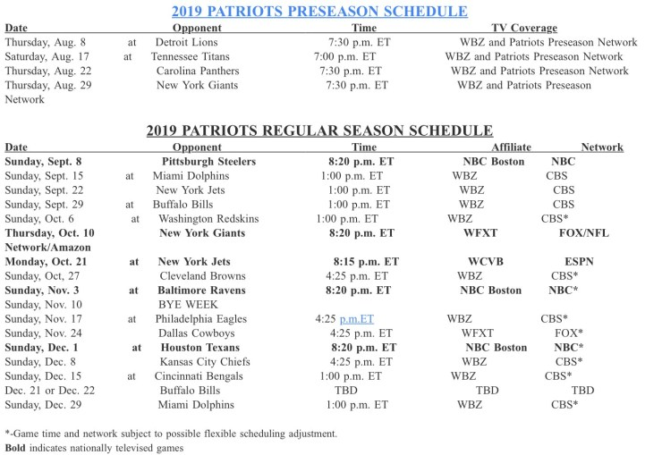 New England Patriots 2019 Schedule Officially Released