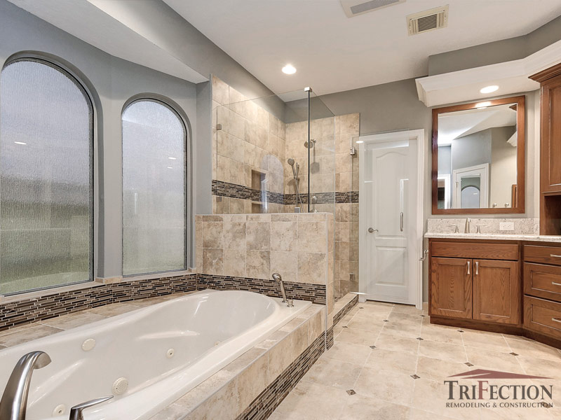 glass and stone bathroom remodel in houston