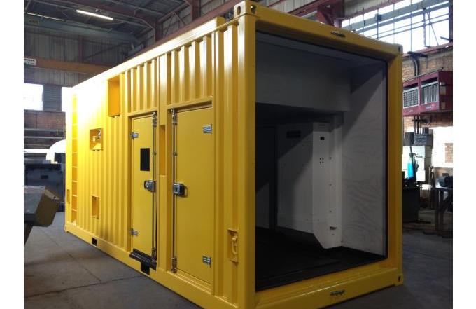 metal shipping container with bespoke interior and doors