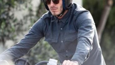 rider wearing vintage motorcycle helmet