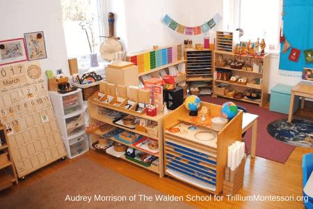 Aula montessori con los materiales al alcance de los niños. Ambiente preparado.
