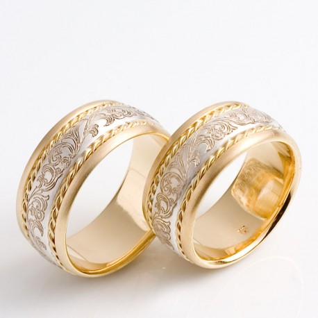 Wedding Bands 18 K Gold And Sterlingsilver TRIMETALL