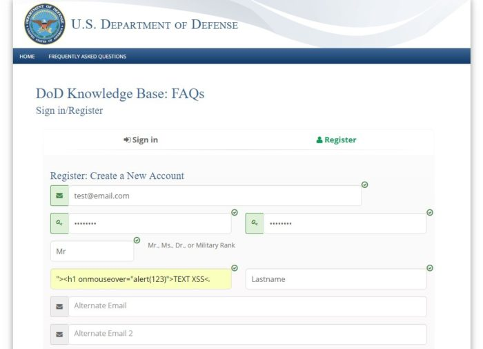 US Department of Defense website, the user registration form