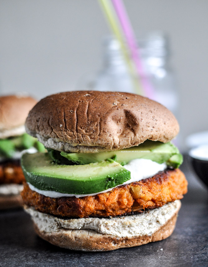 1. Smoky Sweet Potato Burgers with Roasted Garlic Cream Cheese and Avocado