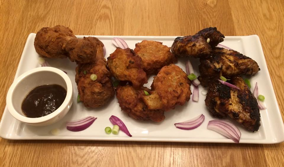 Fried Chicken, Saltfish Fritters and Chicken Wings for Wedding Taster