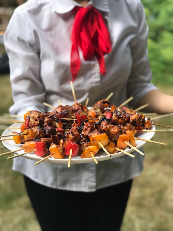 Prawn Skewers Served at a Wedding