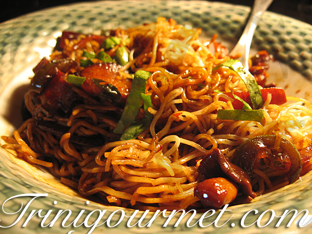 Asian Crisp Fried Noodles and Chili Vegetables (recipe)