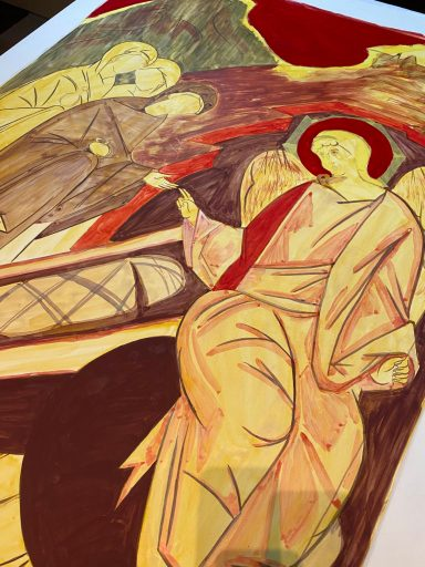Progress updates on the Myrrh Bearing Women Icon being completed by students of the Trinity Iconography Institute.