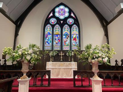 Wedding flowers at Trinity