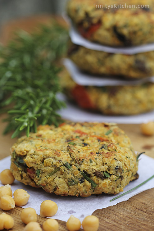 Gluten-free, vegan chickpea & mushroom burgers by Trinity Bourne - veggie burger recipe