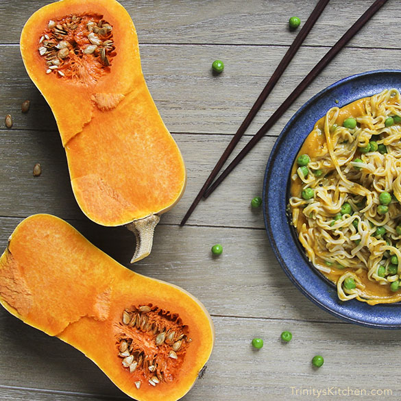 Butternut Squash & Ginger Sauce (with rice noodles). A 15 minute gluten-free vegan dinner by Trinity #glutenfree #vegan