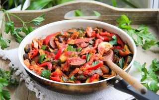 Easy ratatouille recipe with courgette, aubergine, leek and sweet pepper - gluten-free vegan quick meal