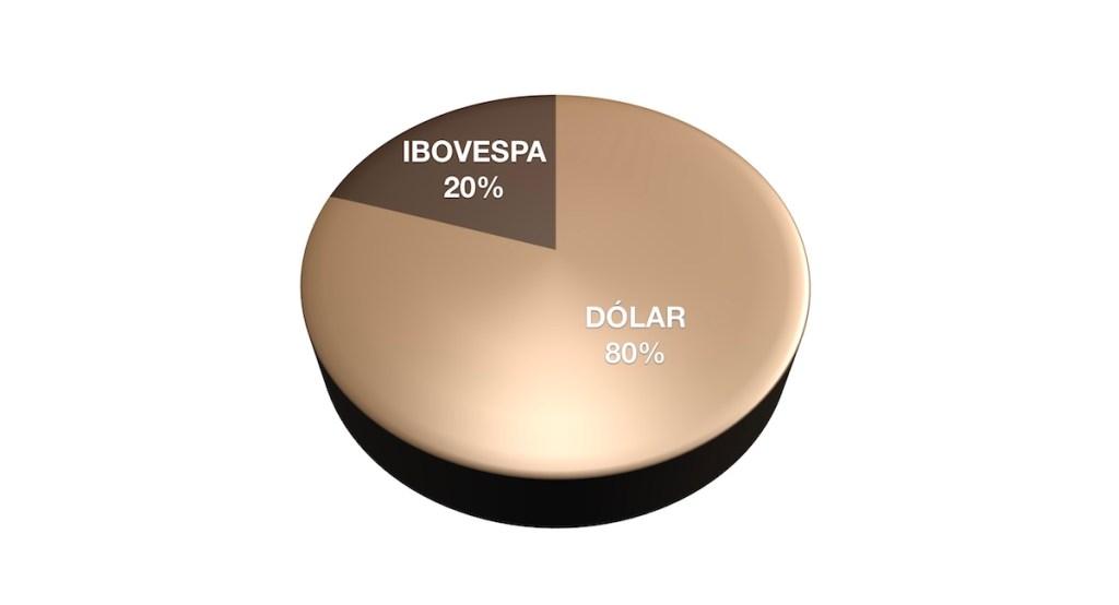 Ilustração de gráfico de pizza mostrando Ibovespa em 20% e Dólar em 80%