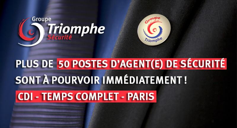 Juin 2019 – Le Groupe Triomphe Sécurité recrute plus de 50 ADS – Paris – CDI – Temps complet
