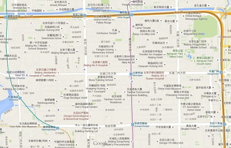 map hutongs Beijing