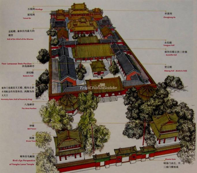 Yonghe Temple Beijing Map   Maps of Beijing Yonghe Temple Beijing Map