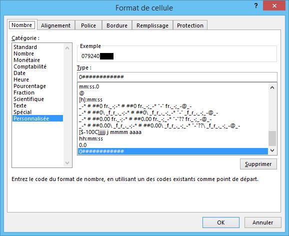 Excel masque 0
