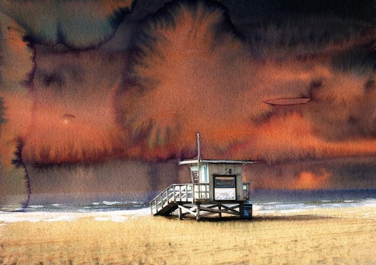 Zuma beach - watercolor by Jean Tripier