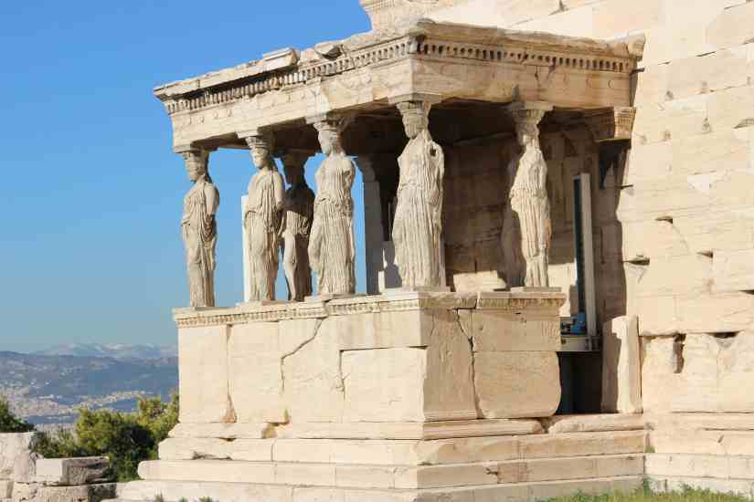 Authentic Ancient Greek Temples in Athens Acropolis Caryatids
