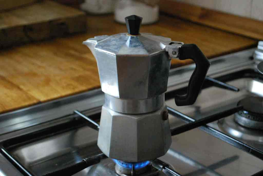 Moka pot on stove burner