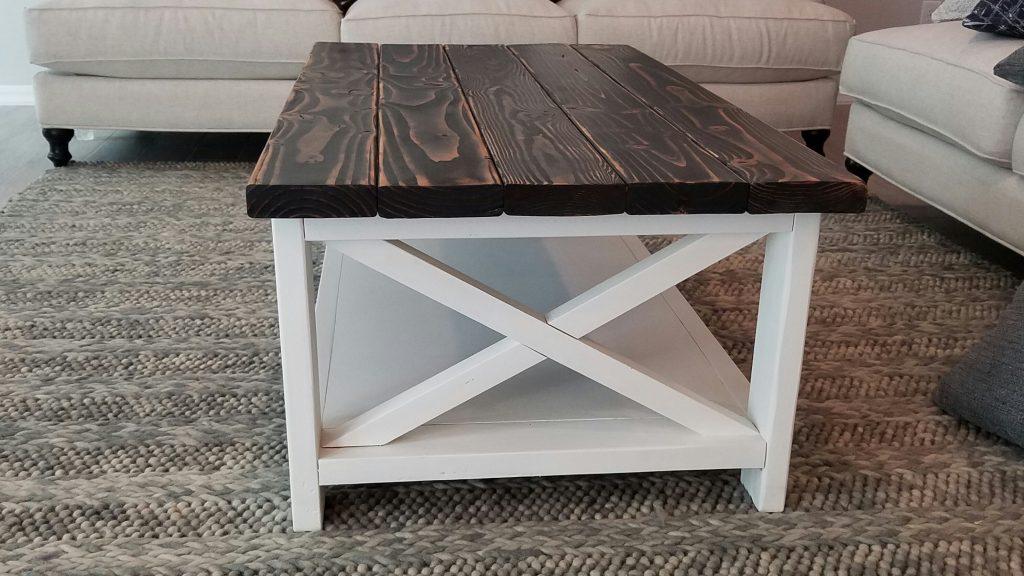 2 tone rustic coffee table