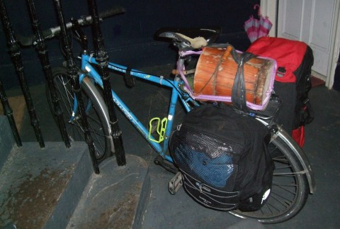 Peter's bike loaded with the White Mountain Freezer
