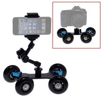 "Neewer® Mobile Rolling Sliding Dolly Stabilizer Skater Slider + 7"" Articulating Magic Arm + Tripod Mini Ball Head + Two-way Smartphone Tripod Holder Mount"