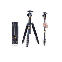 Amacam Q-666C Portable Profesional Carbon Fiber Tripod Monopod&ball Head for Dslr Camera Q666C with Bag up to 35lbs 61 Inch Double Level