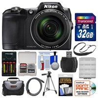 Nikon Coolpix L840 Wi-Fi Digital Camera (Black) with 32GB Card + Case + Batteries & Charger + Tripod + Strap + Kit