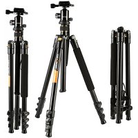 Camera Tripod, K&F Concept Aluminum Tripod TM2324 62 Inch with Ball Head Quick Release Plate DSLR Tripod for Camera Canon Nikon Sony DSLR DV Black Compact Tripod