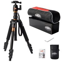 "Rangers 55"" 2.8lbs Super Light-weight Aluminum Tripod Monopod with Ball Head for DSLR (Canon, Nikon, Pentax, Sony, Leica, Fuji, Lumix, Olympus) Golden"