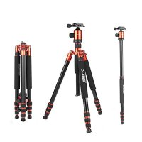 ZoMei Z818 Light Weight Heavy Duty Portable Magnesium Aluminium Travel Tripod Come With Quick Release Plate Ball Head and Carry Case For Canon Sony Nikon DSLR Cameras(Orange)