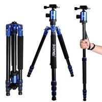 Zomei Z818 tripods, 65 Compact Portable Magnesium Aluminum, Detachable Monopod, Professional Camera Tripod, 360 Ball Head Quick Release Plate & Carry Case for Digital Video DSLR Cameras(Blue)