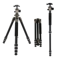 "BONFOTO 55 Inch B671A Lightweight Aluminum Alloy Camera Travel Tripod and Monopod with 360 Degree Ball Head + Two 1/4"" Quick Release Plates + Carry Bag for Canon Nikon Sony DSLR DV and Digital Camera"