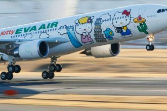 Eva Air's Hello Kitty Themed Aircraft in Taiwan