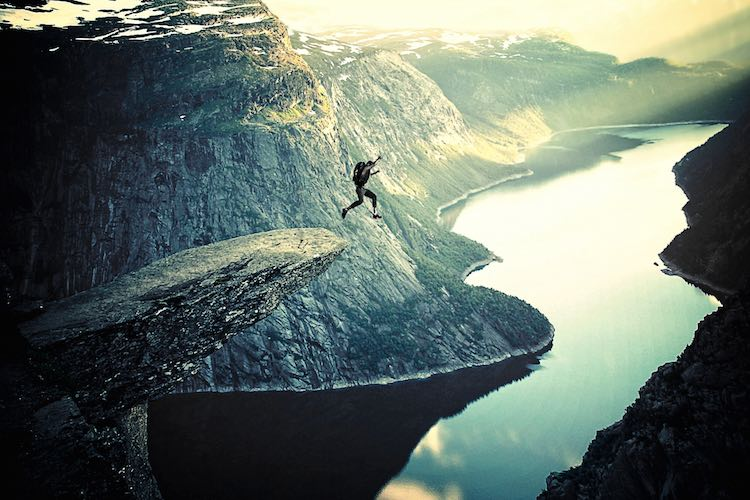 BASE Jumping off Trolltunga in Norway
