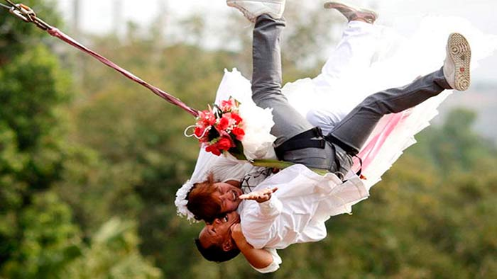 A bungee jumping wedding
