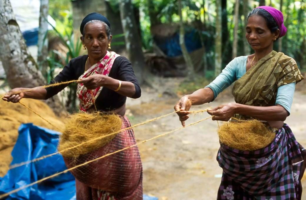 Coir making in Kerala village.