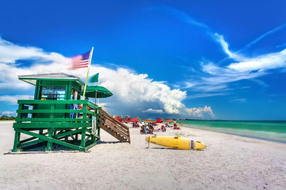 Coast Guard Beach house and beach, Siesta Key, Sarasota, Florida, USA