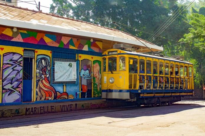 Colorful mural at a tram station in Santa Teresa