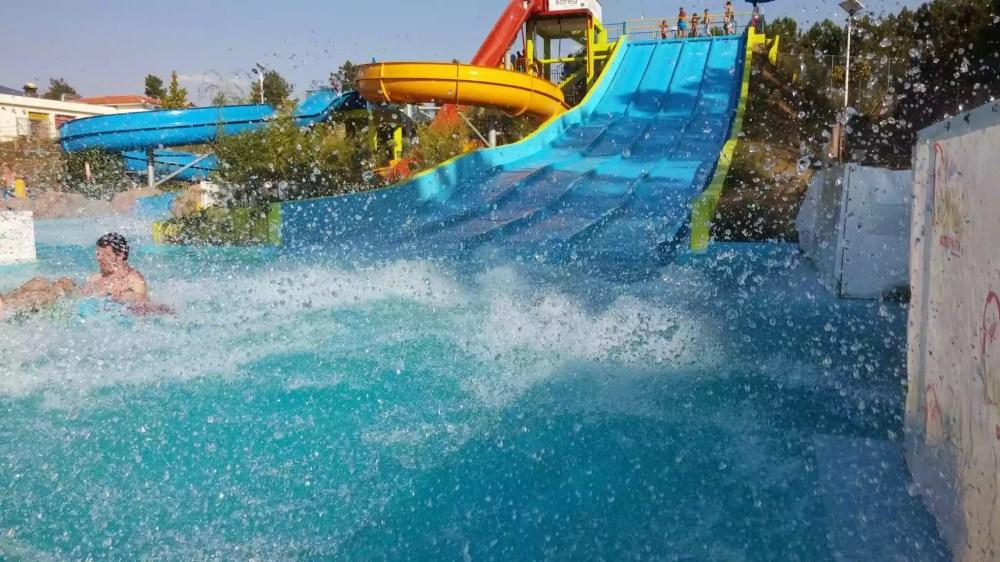 Man having fun at the water park