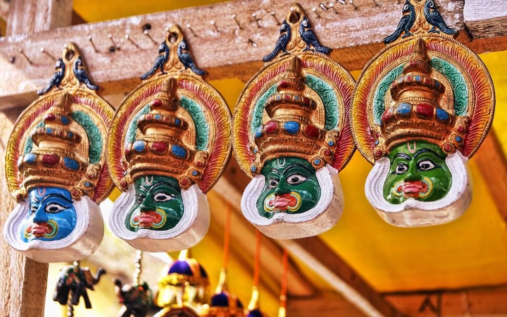 Kathakali masks for sale.