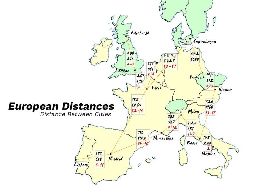Map Of Spain Distances Between Cities.Map Spain Distances Between Cities