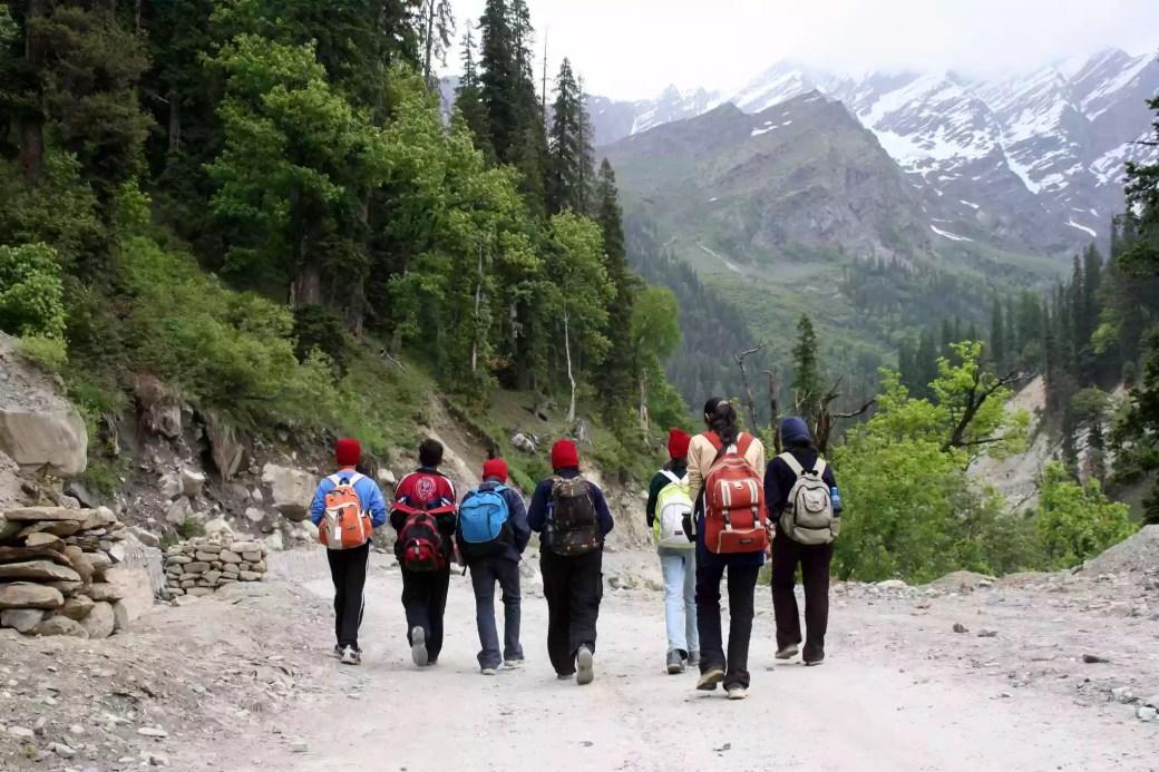 Trekkers on the way to Dhundi in Manali, Himachal Pradesh