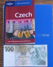 Czech phrase book and money