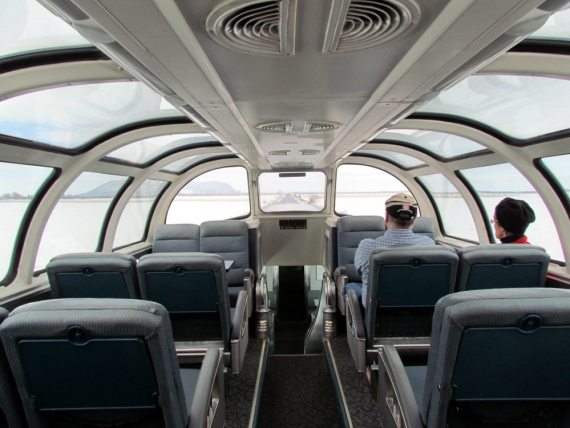 The observation car has a glass dome so you can sit and enjoy the passing scenery.