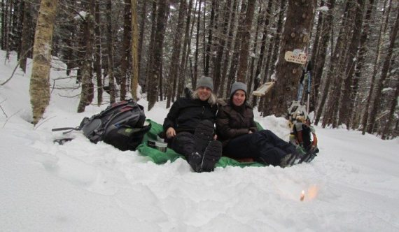 The weather was mild enough for us to enjoy an outdoor picnic during our snow shoe trek along the trails of the Big Hill Retreat.