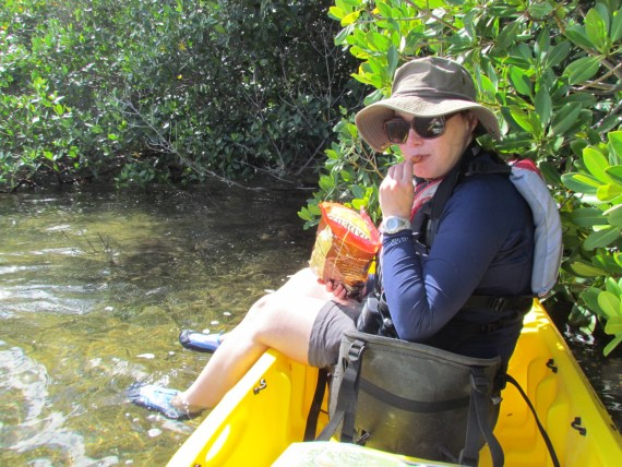 Stopped on the kayak trip through the mangroves for a floating picnic!