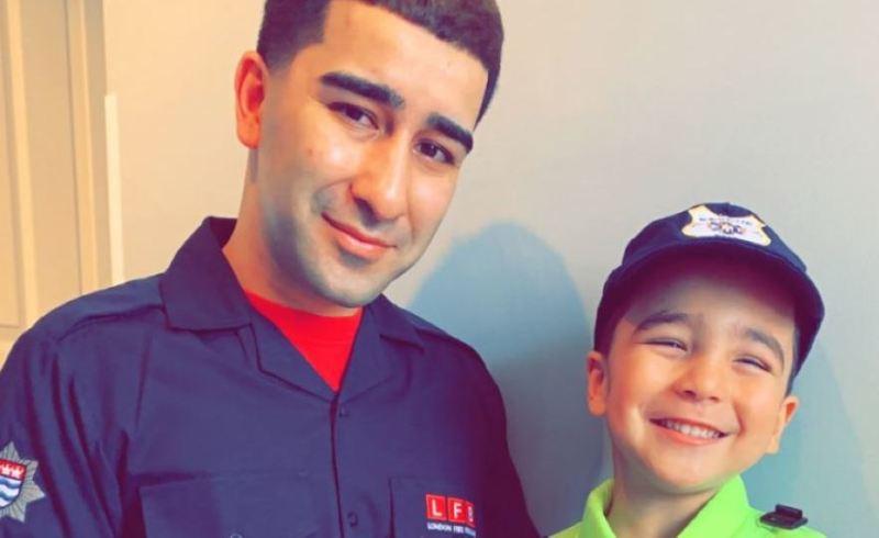 Uzair Yaqoob with his son