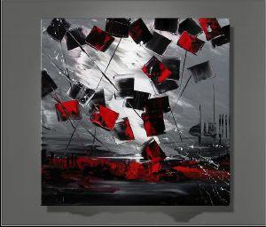 Tableau Design Rouge Et Gris Gamboahinestrosa